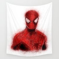 spider man Wall Tapestries featuring Spider-Man by KitschyPopShop