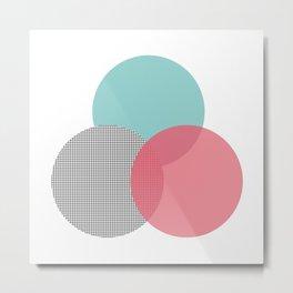 abstract circles - blue pink grid Metal Print