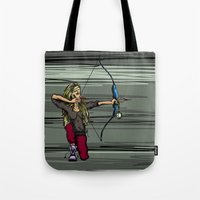 archer Tote Bags featuring Archer by Natalie Easton