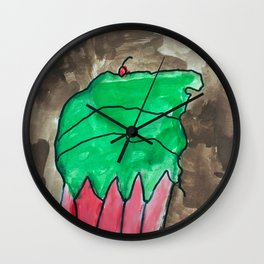 Sweet Cupcake Confections Green Frosting With Red Cherry Watercolor Wall Clock