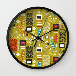 tiki yellow Wall Clock