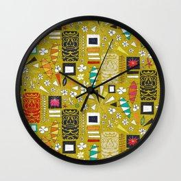 tiki yellow Wall Clock
