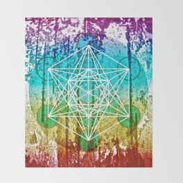 The Flower of Life & Metatron's Cube - The Rainbow Tribe Collection Throw Blanket
