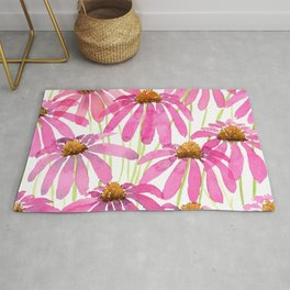 Pink Coneflowers On White - Watercolor Floral  Rug