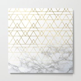 Gold Geometric Marble Deco Design Metal Print
