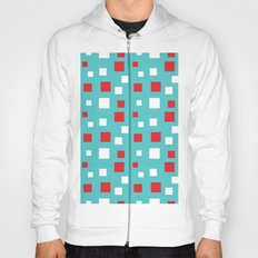 Red and White Squares on Blue Hoody