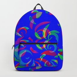 Pattern of colored doodles and curls in floral ornament in ethnic style on a blue background. Backpack