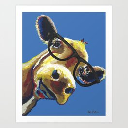 Cute Cow With Glasses, Up close Glasses Cow Art Print