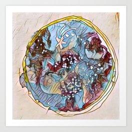 Star Galaxy Teal Purple Brown Mandala watercolor by CheyAnne Sexton Art Print