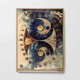 Lunar Phases Celestial Map Metal Print