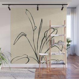 Line drawing leaves Wall Mural