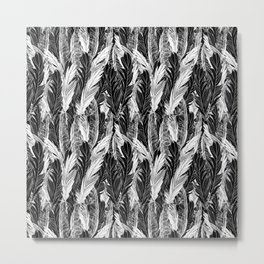 Seamless beautiful pattern feathers black white ornament. Vector illustration of a template for the  Metal Print