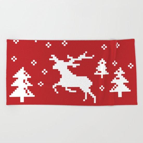 CHRISTMAS DEER II Beach Towel