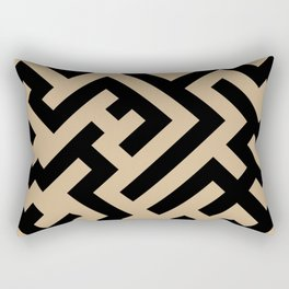Black and Tan Brown Diagonal Labyrinth Rectangular Pillow