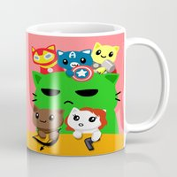 superhero Mugs featuring Superhero Kitties  by Mayying