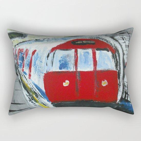 London Underground Acrylic On Canvas Board Fine Art Rectangular Pillow