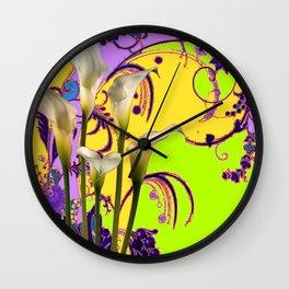 Fantasy Calla Lily Garden Gold-Lilac-Lime Color Designs Wall Clock
