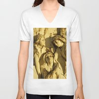 angels V-neck T-shirts featuring Angels by David Jessamy