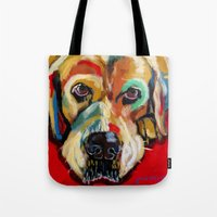 lab Tote Bags featuring Yellow Lab by Juliette Caron