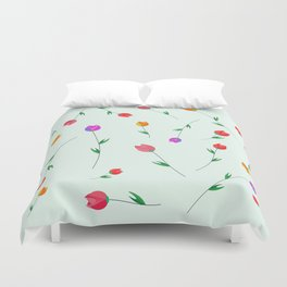 Pattern of tulips. Tulips scattered on the web Duvet Cover