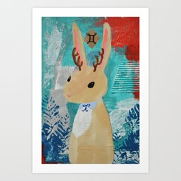 Gemini Jackalope Girl Art Print