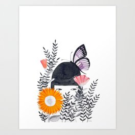 girl with butterfly watercolor Art Print