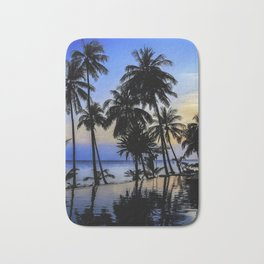 Palm Tree Beach Ocean Pool Sunset Bath Mat