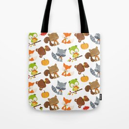 Woodland Animals, Bear, Squirrel, Fox, Owl, Raccoon Tote Bag