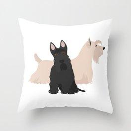 Scottish Terrier Black White Hunting Dog Throw Pillow