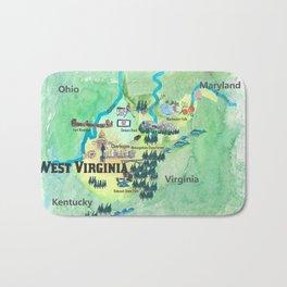 USA West Virginia State Travel Poster Map mit touristischen Highlights Bath Mat