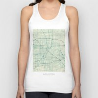houston Tank Tops featuring Houston Map Blue Vintage by City Art Posters