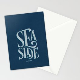 Seaside Typography (Blue) Stationery Cards