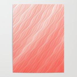 Living Coral Wavy Ombre Pattern Poster