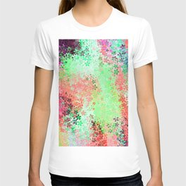 flower pattern abstract background in green pink purple blue T-shirt