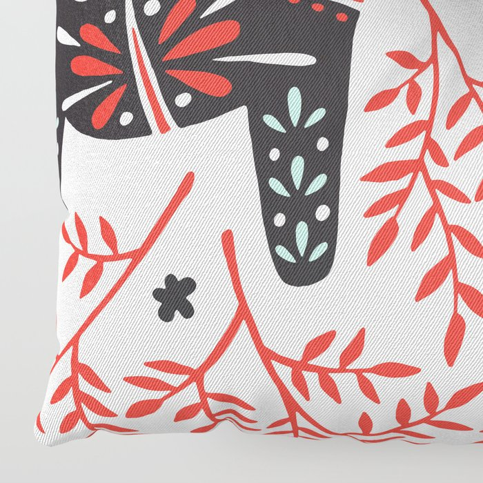 Swedish Dala Horses – Red and Black Palette Floor Pillow