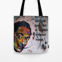 salvador dali Tote Bags featuring Salvador Dali by Ruby Chavez