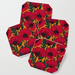 Red poppy garden Coaster