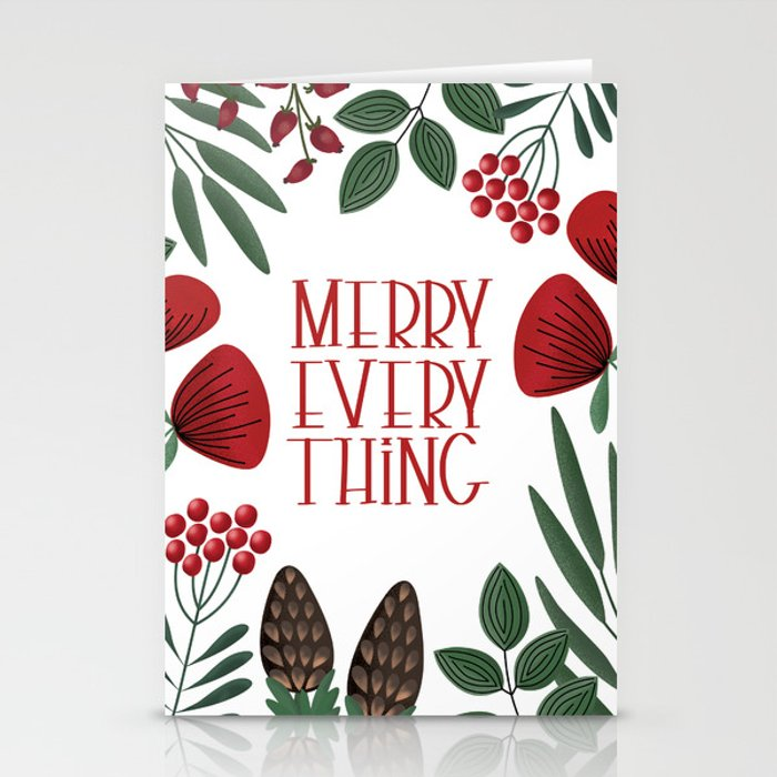Merry Everyting with scandinavian florals Stationery Cards