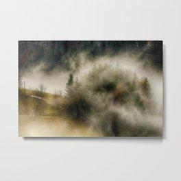 Foggy Forest Landscape Photo Metal Print