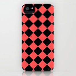 Rhombus (Black & Red Pattern) iPhone Case