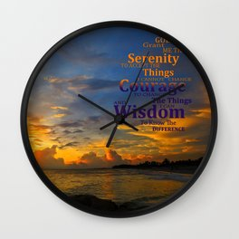 Serenity Prayer Sunset By Sharon Cummings Wall Clock