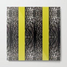 Gothic tree striped pattern mustard yellow Metal Print