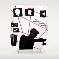stiles stilinski Shower Curtains featuring Stiles Stilinski by smartypants