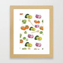 Watercolor Guacamole Pattern Framed Art Print