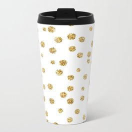 Gold glitter confetti on white - Metal gold dots Metal Travel Mug