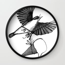 nuthatch delivers an ice cream cone Wall Clock