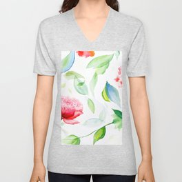 Watercolor flowers and leaves Unisex V-Neck