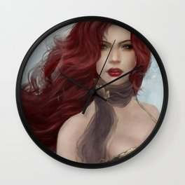 Gone - Portrait of a beautiful redhead girl Wall Clock