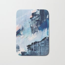 Vibes: an abstract mixed media piece in blues and pinks by Alyssa Hamilton Art Bath Mat