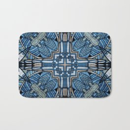 blue symmetric fantasy pattern II Bath Mat